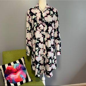 Banana Republic Floral Long Sleeve Shirt Dress B1
